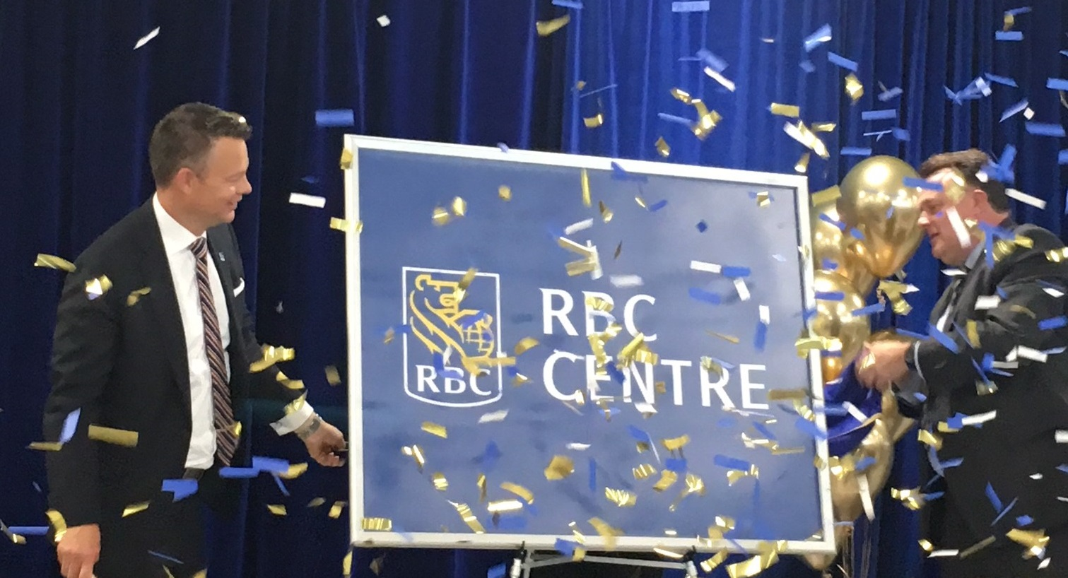 Roger Howard and Mayor Mike Savage at the naming of the RBC Centre, Dartmouth