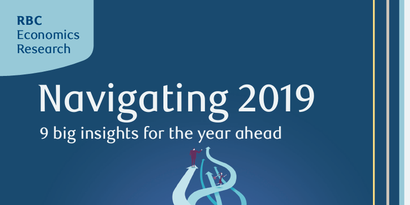 Text: RBC Economics Research. Navigating 2019. 9 big trends for the year ahead.