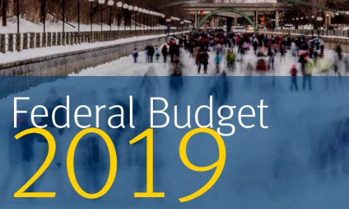 Text over image of ice skaters on canal in front of Ottawa parliament buildings. Text reads RBC Wealth Management Services. Federal Budget 2019. Key tax measures that have a direct impact on you.