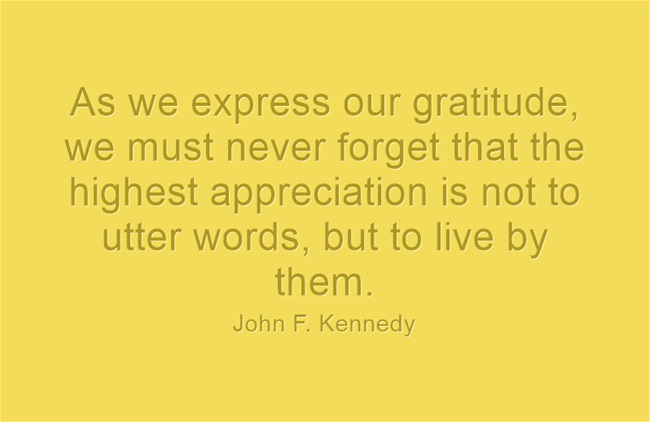 JFK quote on gratitude