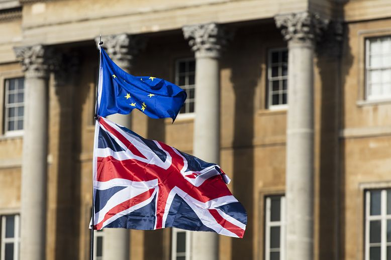 European-union-and-British-Union-jack-flags-flying-together-in-page