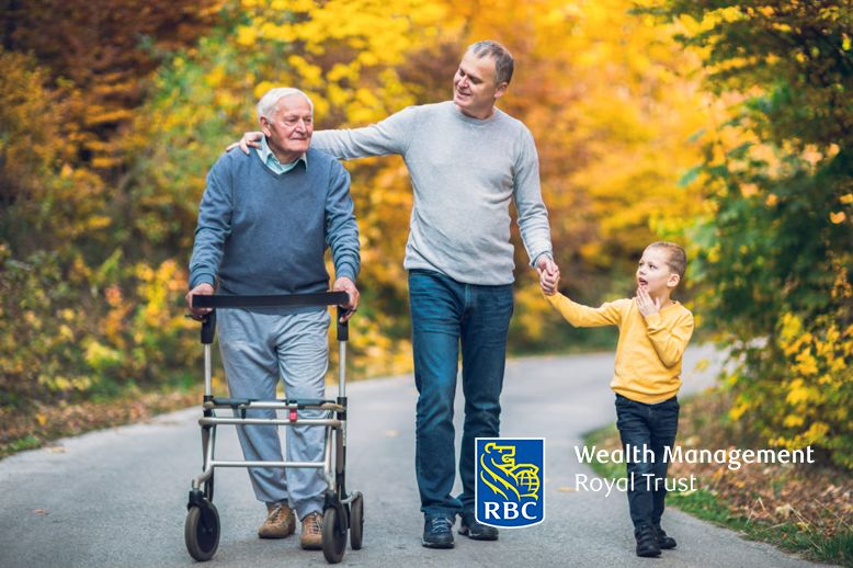 grandfather walking down the park with his son and granddaughter RBC Royal Trust logo in page