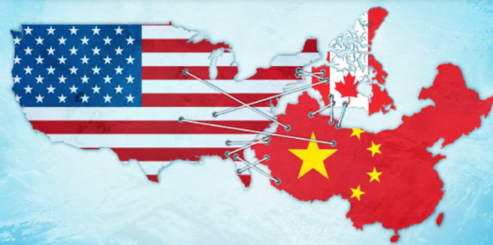 Map of Canada, USA, China with nation flags in page