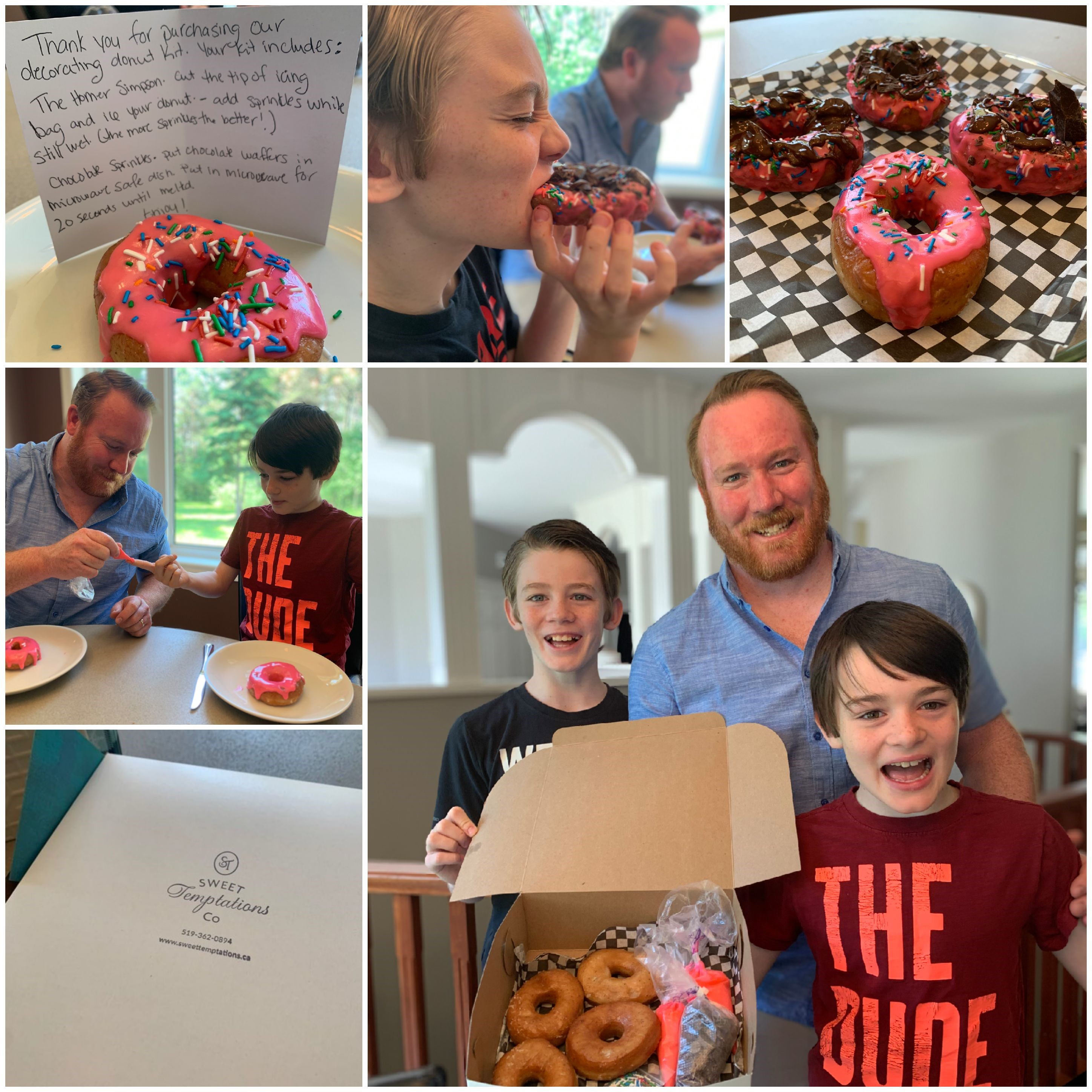 Collage of family photos. Father and two boys decorating doughnuts.