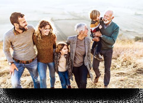 multigenerational family on the beach