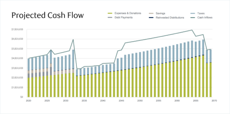 Projected cash flow graph